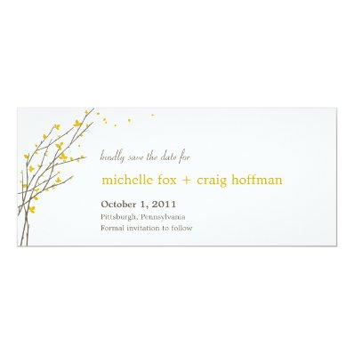 Blooming Branches Save The Date Card - Mustard