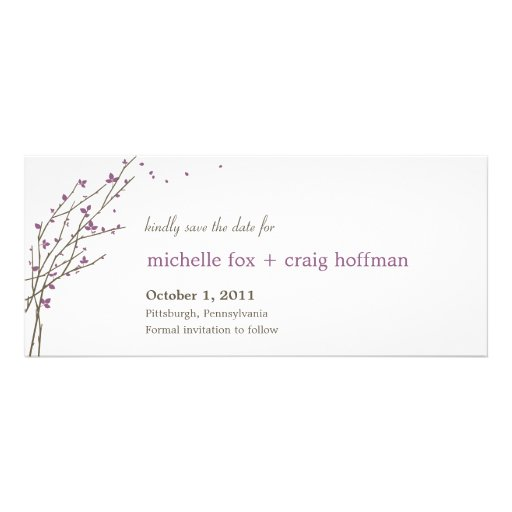 Blooming Branches Save The Date Card - Plum Personalized Announcement