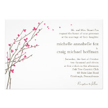 Blooming Branches Wedding Invitation - Fuchsia
