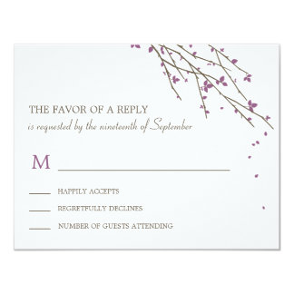 Blooming Branches Wedding RSVP Card - Plum