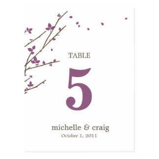 Blooming Branches Wedding Table Number Card - Plum Postcard