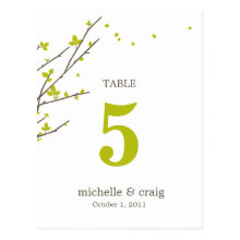 Blooming Branches Wedding Table Number Card Post Cards