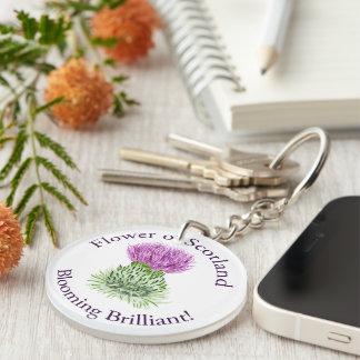 Blooming Brilliant Scottish Thistle Single-Sided Round Acrylic Keychain