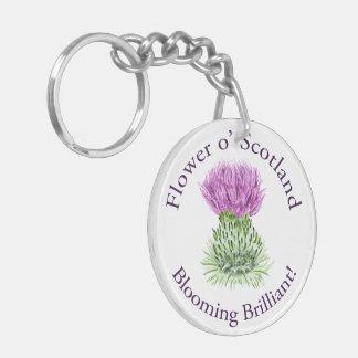 Blooming Brilliant Scottish Thistle Double-Sided Round Acrylic Keychain