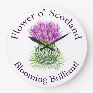 Blooming Brilliant Scottish Thistle Large Clock