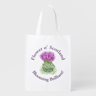 Blooming Brilliant Scottish Thistle Reusable Grocery Bags