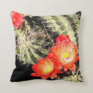 Blooming Cactus at Night Throw Pillow