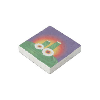 Blooming Cactus Stone Magnet