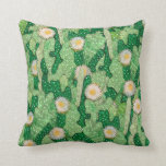 Blooming cactus, succulents, white flowers, green throw pillow