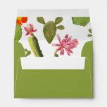 Blooming cactus wedding invitation envelope