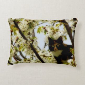 Blooming Cat Accent Pillow