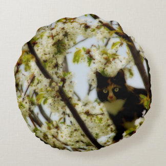 Blooming Cat Round Pillow