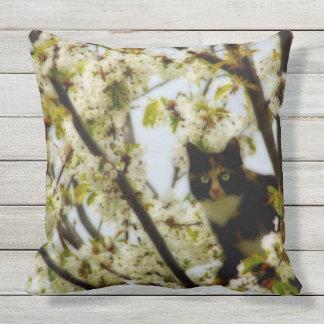 Blooming Cat Outdoor Pillow