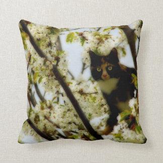 Blooming Cat Throw Pillow