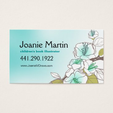 Professional Business Blooming Cherry Blossoms | aqua Business Card