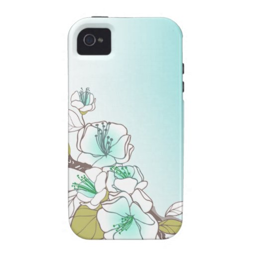 Blooming Cherry Blossoms designer aqua Vibe iPhone 4 Cover