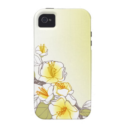 Blooming Cherry Blossoms designer yellow Vibe iPhone 4 Covers