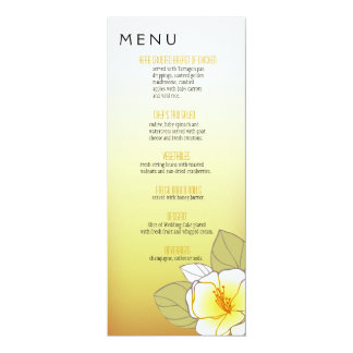 Blooming Cherry Blossoms Dinner Menu yellow Card