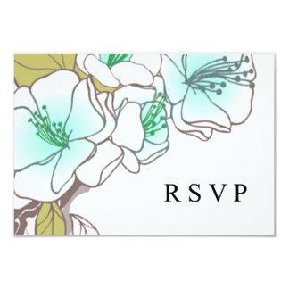 Blooming Cherry Blossoms RSVP aqua 3.5x5 Paper Invitation Card