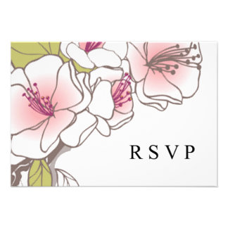 Blooming Cherry Blossoms RSVP pink Custom Announcement