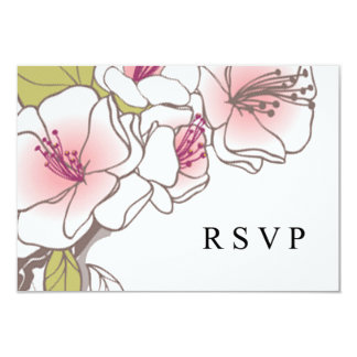 Blooming Cherry Blossoms RSVP pink 3.5x5 Paper Invitation Card
