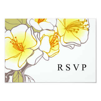 Blooming Cherry Blossoms RSVP yellow 3.5x5 Paper Invitation Card