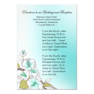 Blooming Cherry Blossoms Wedding Directions aqua 3.5x5 Paper Invitation Card