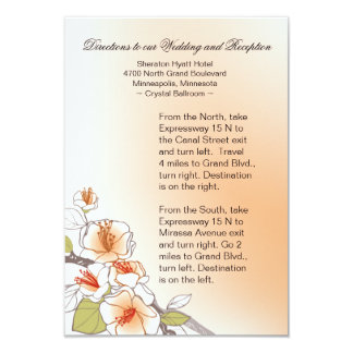 Blooming Cherry Blossoms Wedding Directions peach 3.5x5 Paper Invitation Card
