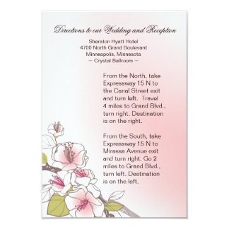 Blooming Cherry Blossoms Wedding Directions pink 3.5x5 Paper Invitation Card