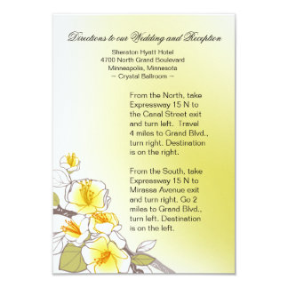 Blooming Cherry Blossoms Wedding Directions yellow 3.5x5 Paper Invitation Card