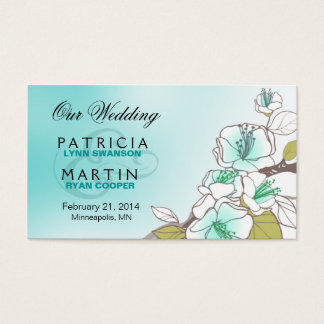 Blooming Cherry Blossoms Wedding Website aqua Business Card