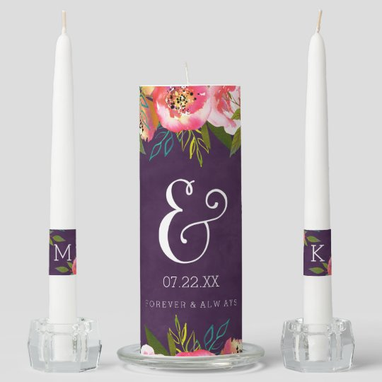 Blooming Chic Color Editable Personalized Wedding Unity Candle Set