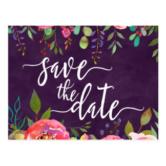 Blooming Chic Color Editable Wedding Save the Date Postcard