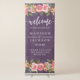 blooming chic color editable wedding welcome retractable banner