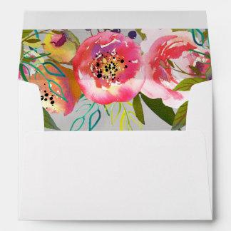 Blooming Chic Watercolor Floral Wedding Monogram Envelope