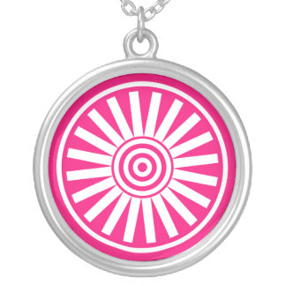 Blooming Circle Floral Necklace, Bright Pink Round Pendant Necklace