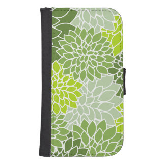 Blooming Dahlia Flowers, Petals - Green White Phone Wallet