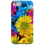 Blooming Daisy Flowers, Petals - Blue Yellow Pink Tough iPhone 6 Plus Case