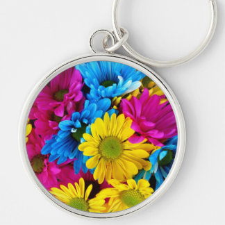 Blooming Daisy Flowers, Petals - Blue Yellow Pink Key Chain