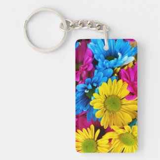 Blooming Daisy Flowers, Petals - Blue Yellow Pink Keychains