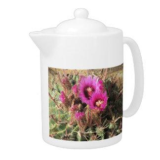 Blooming Devil's Tongue Barrel Cactus Teapot