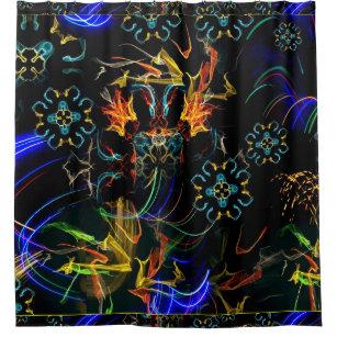 Blooming Fireworks Folk Art Shower Curtain
