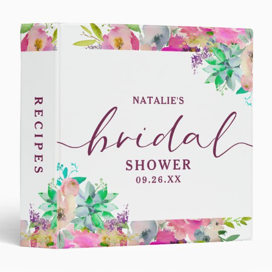 blooming floral bridal shower recipe card album 3 ring