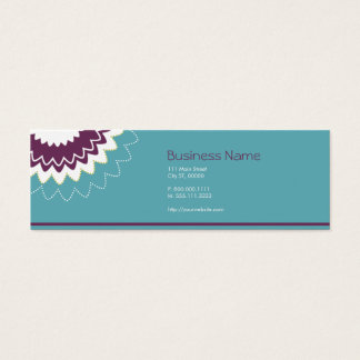 Blooming Flower - Purple, Teal, Green Mini Business Card