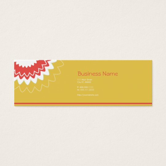 Blooming Flower - Yellow, Coral Mini Business Card