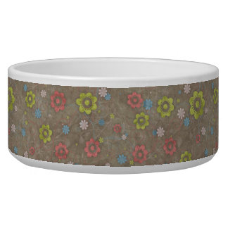 Blooming Flowers and Petals - Red Green Blue Brown Pet Water Bowls