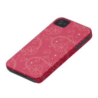 Blooming Flowers and Petals - Red White iPhone 4 Case-Mate Cases