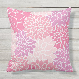 Blooming Flowers, Dahlia Blossoms - Pink Purple Outdoor Pillow