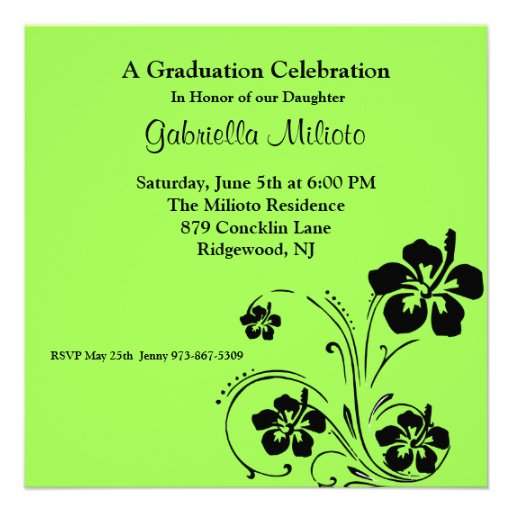 Blooming Flowers on Green Graduation Invitation