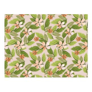 Blooming Flowers, Petals, Leaves - Green Orange Post Card